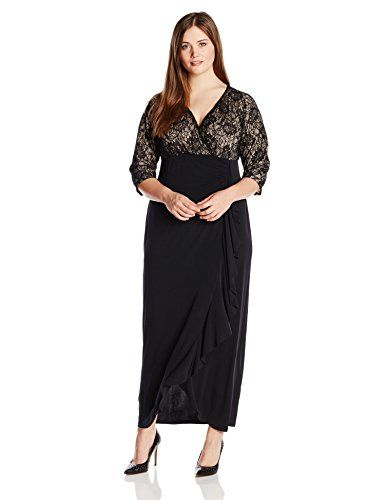 London Times Women\'s Plus-Size 3/4 Sleeve Lace Bodice Maxi Dress ...