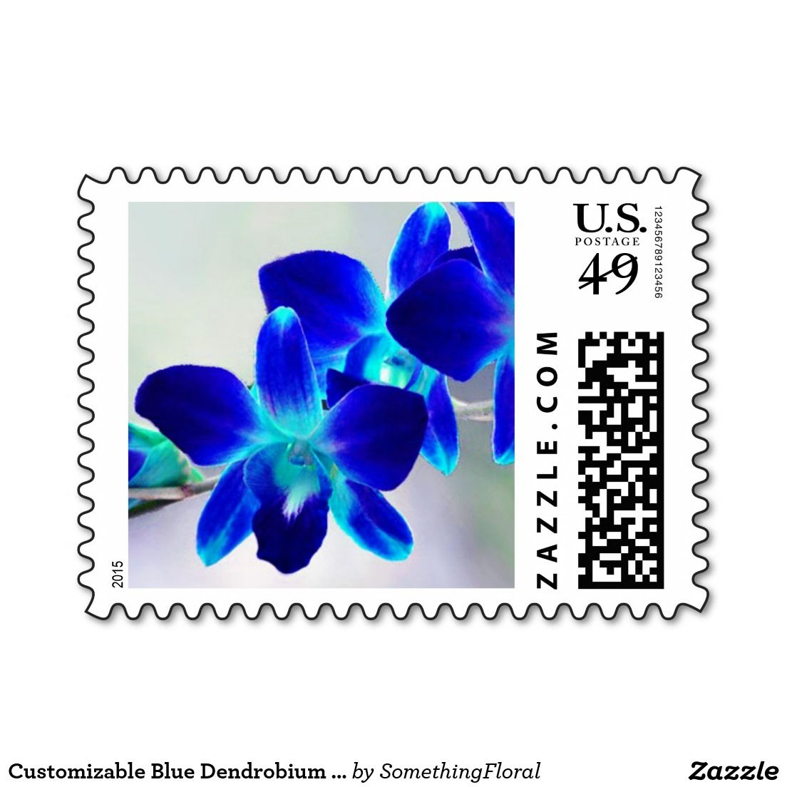 Customizable blue dendrobium orchid postage stamps dendrobium