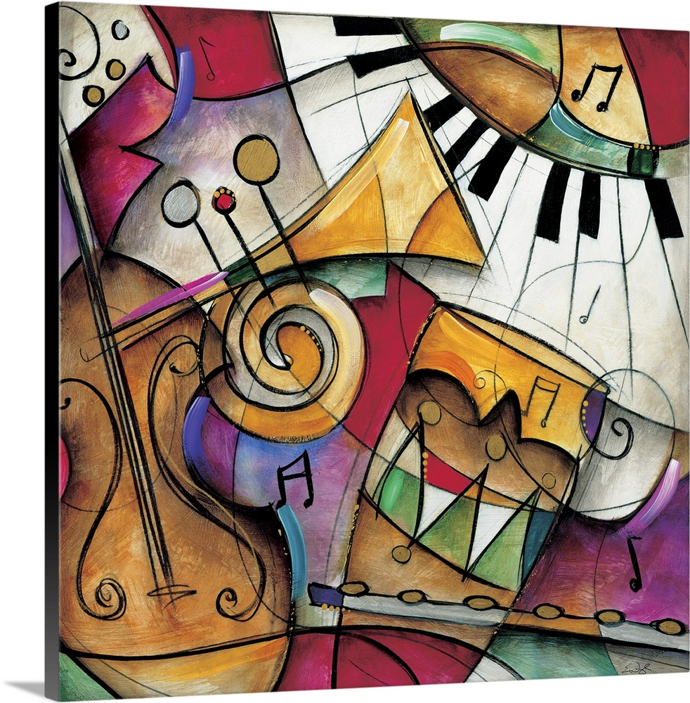 Jazz It Up I In 2020 Framed Canvas Art Canvas Frame Jazz Painting