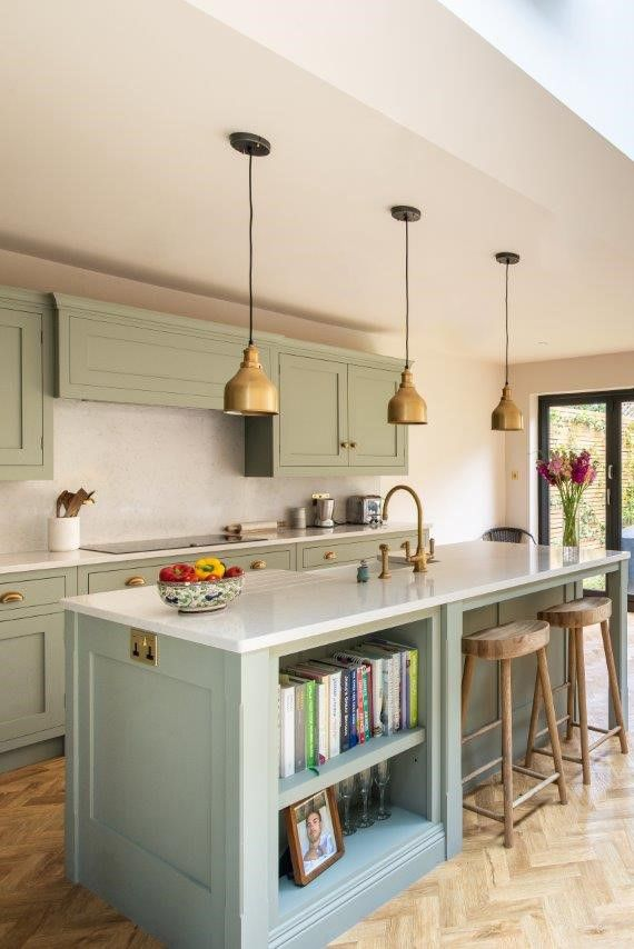 See More Of This French Grey Kitchen With Open Shelving On The Island & Beautiful Quartz Worktops