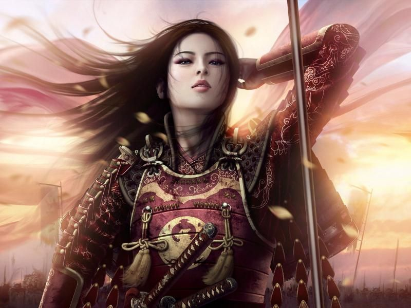 Woman Warrior Women Sunsets Samurai Armor Asians Artwork