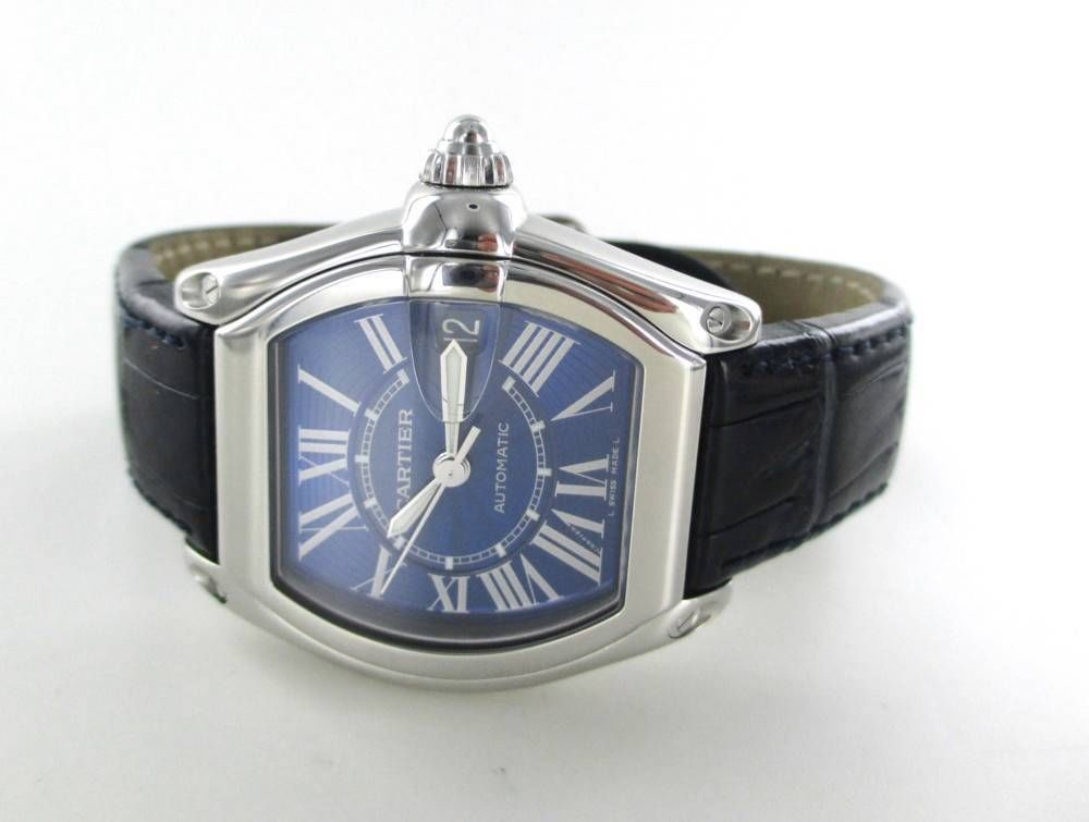 cartier roadster electric blue dial leather band date roman numbers watch menu0027s jewelry jewelry watches