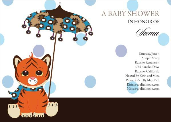 Tiger Baby Indian Baby Shower Invitations by Soulfulmoon Indian
