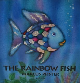 The Rainbow Fish. This is a great book for teaching students to share. Could be used to encourage students to share their ideas in class.