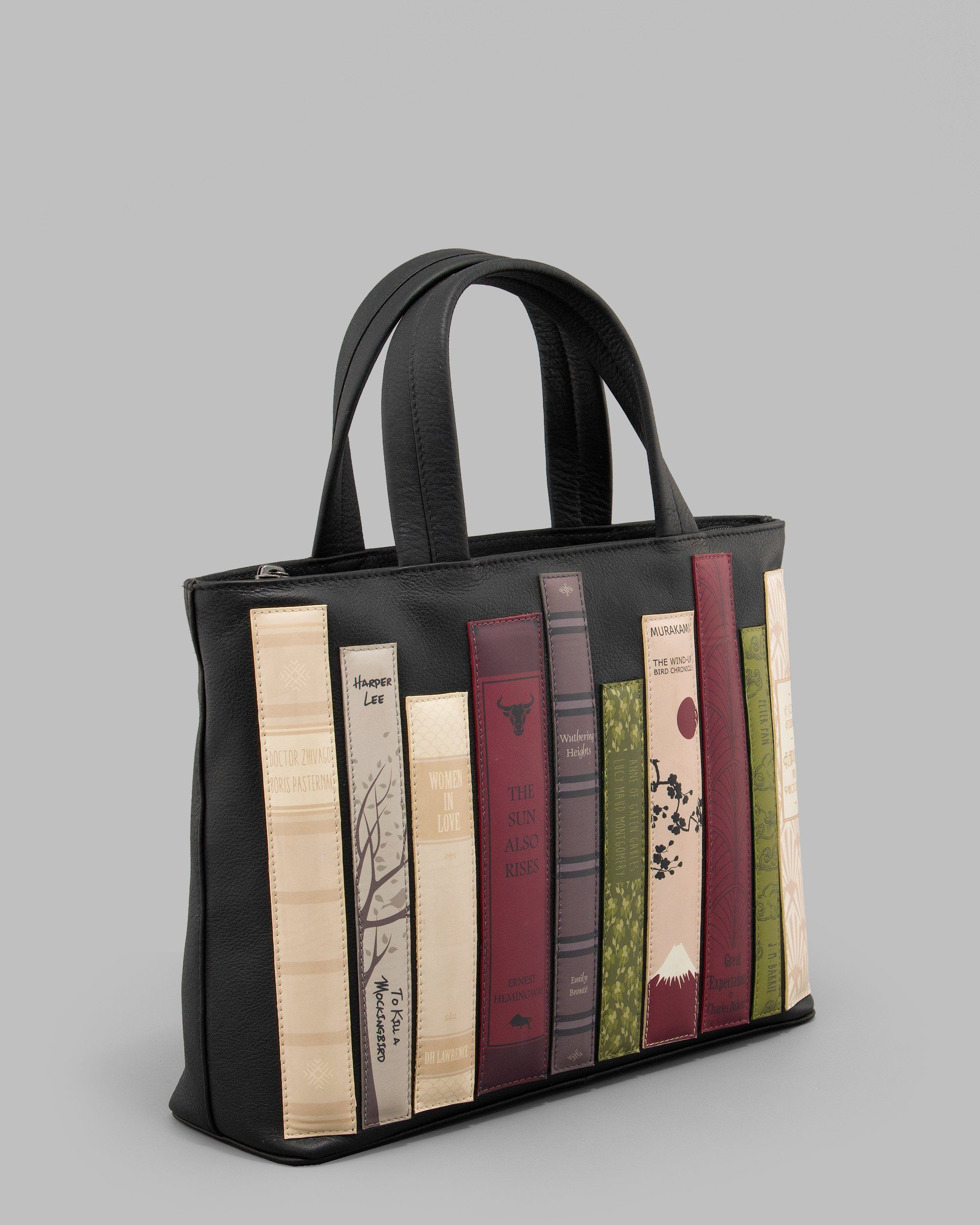 Bookworm Library Black Leather Las Grab Bag By Yoshi Womens Handbag With Book Liques Is A Perfect Gift And Present For Any Author Writer