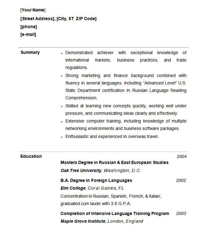 Functional Resume Word Template from i.pinimg.com