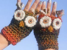 Owl Fingerless Mitts, Fingerless Gloves, Owl Mitts, Owl Gloves, Owl Fingerless, Animal Mitts, Fingerless, Cute, Ombre, Kawaii, Soft