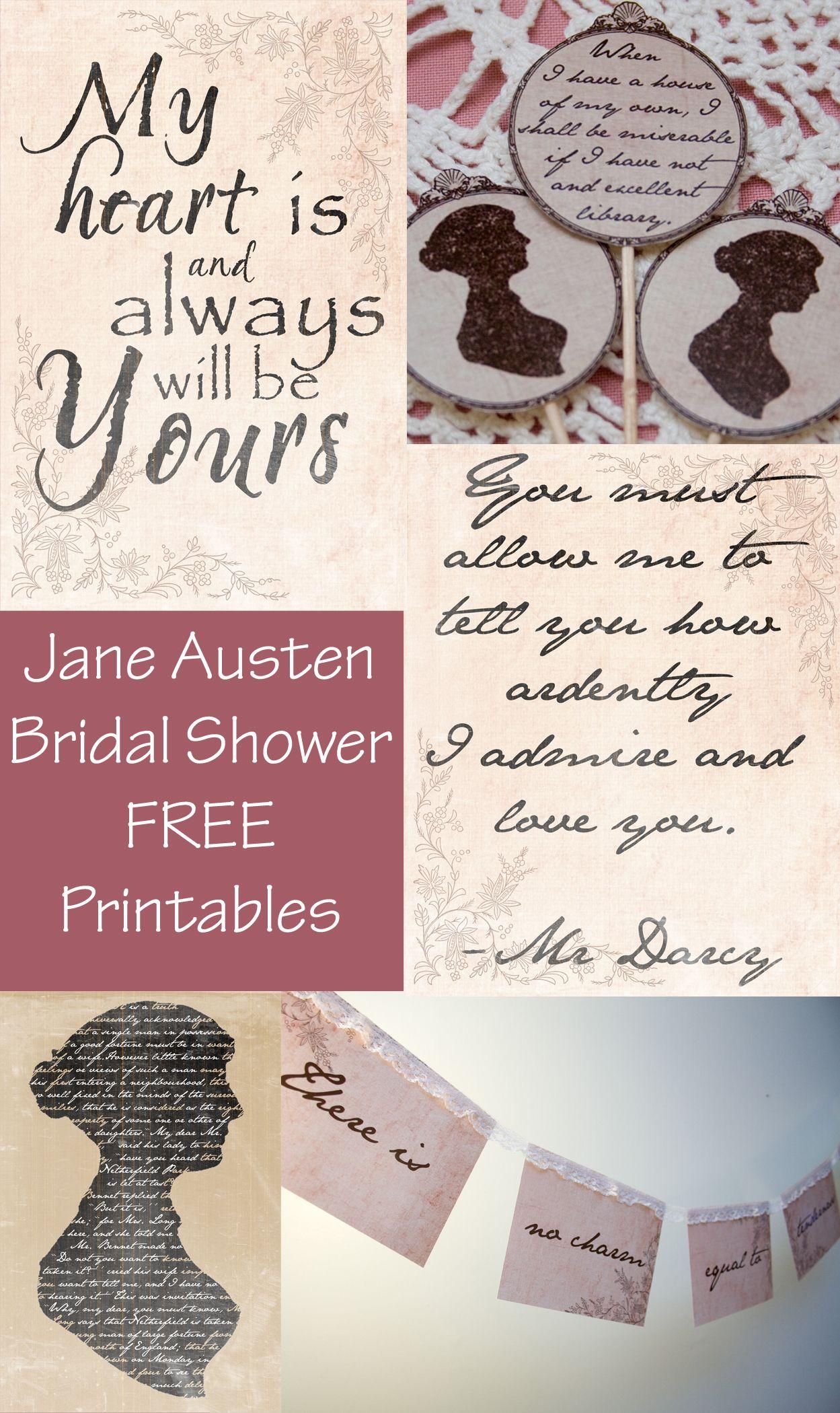 Jane Austen Bridal Shower And Free Printables Jane Austen