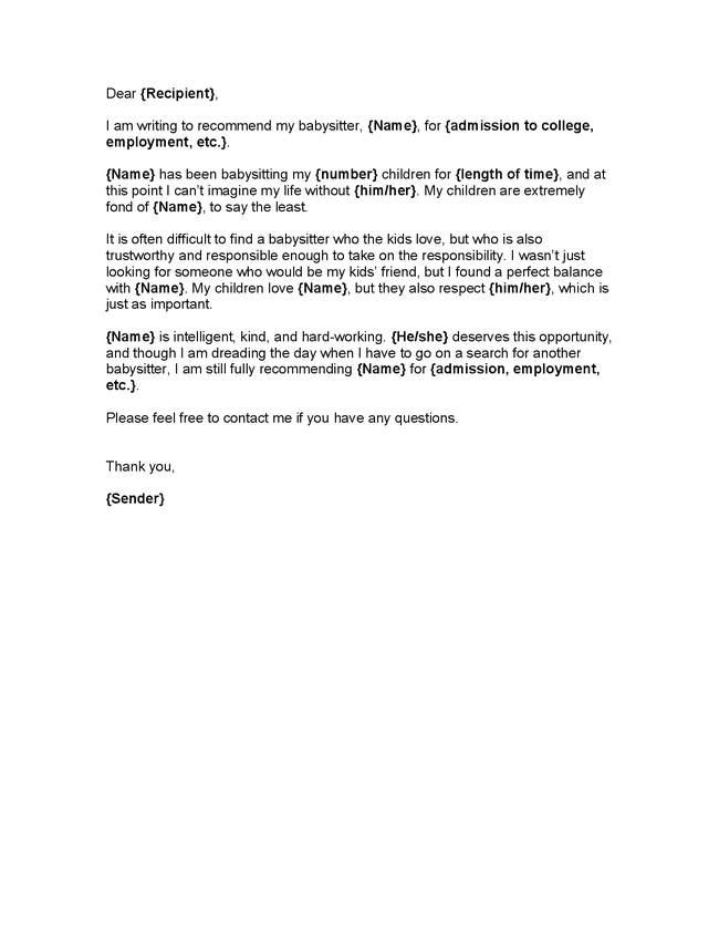 babysitter recommendation letter example