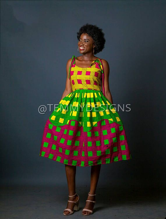 Colorful African midi dress for women , African clothing, women ...