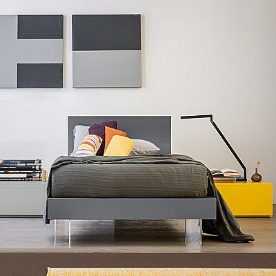 Italian Single Grey Yellow Wooden Ottoman Storage Bed With Curved