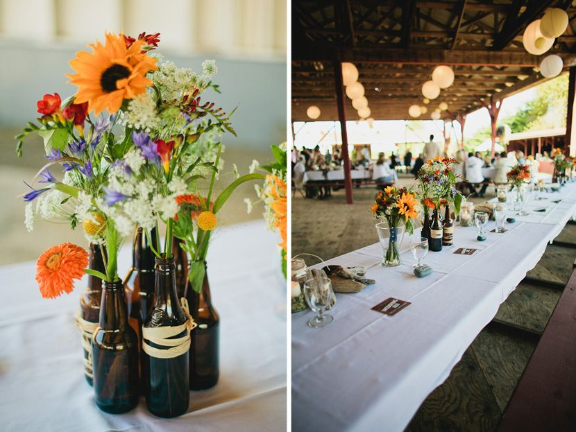 Beer bottle centerpieces weddings kurt and catherine are for Beer bottle decoration ideas
