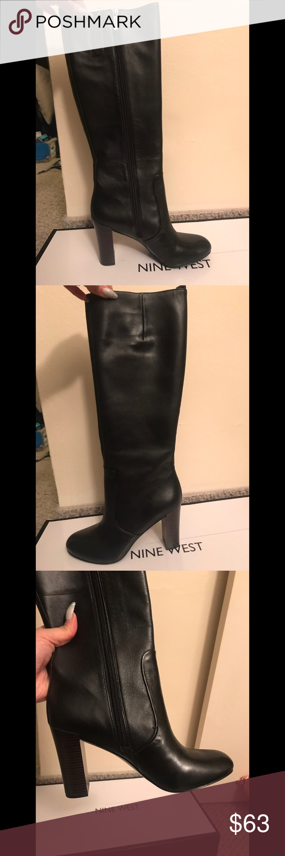 5001056c9f3 Nine West Sabora Boot Size 8 Size 8 3.5-4 inch heel black leather boot