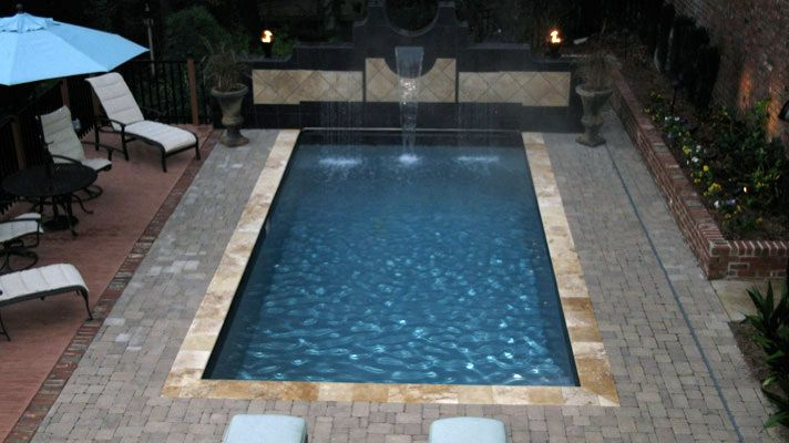 Rectangle Pool With Water Feature the aqua group fiberglass pools & spas | trilogy rectangle pools