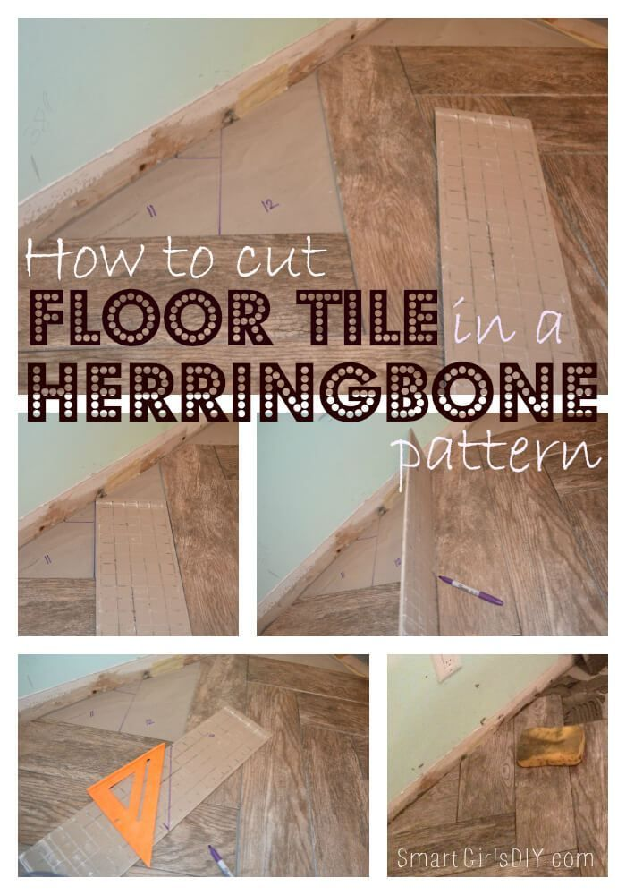 How To Cut Floor Tile In A Herringbone Pattern Diy Pinterest