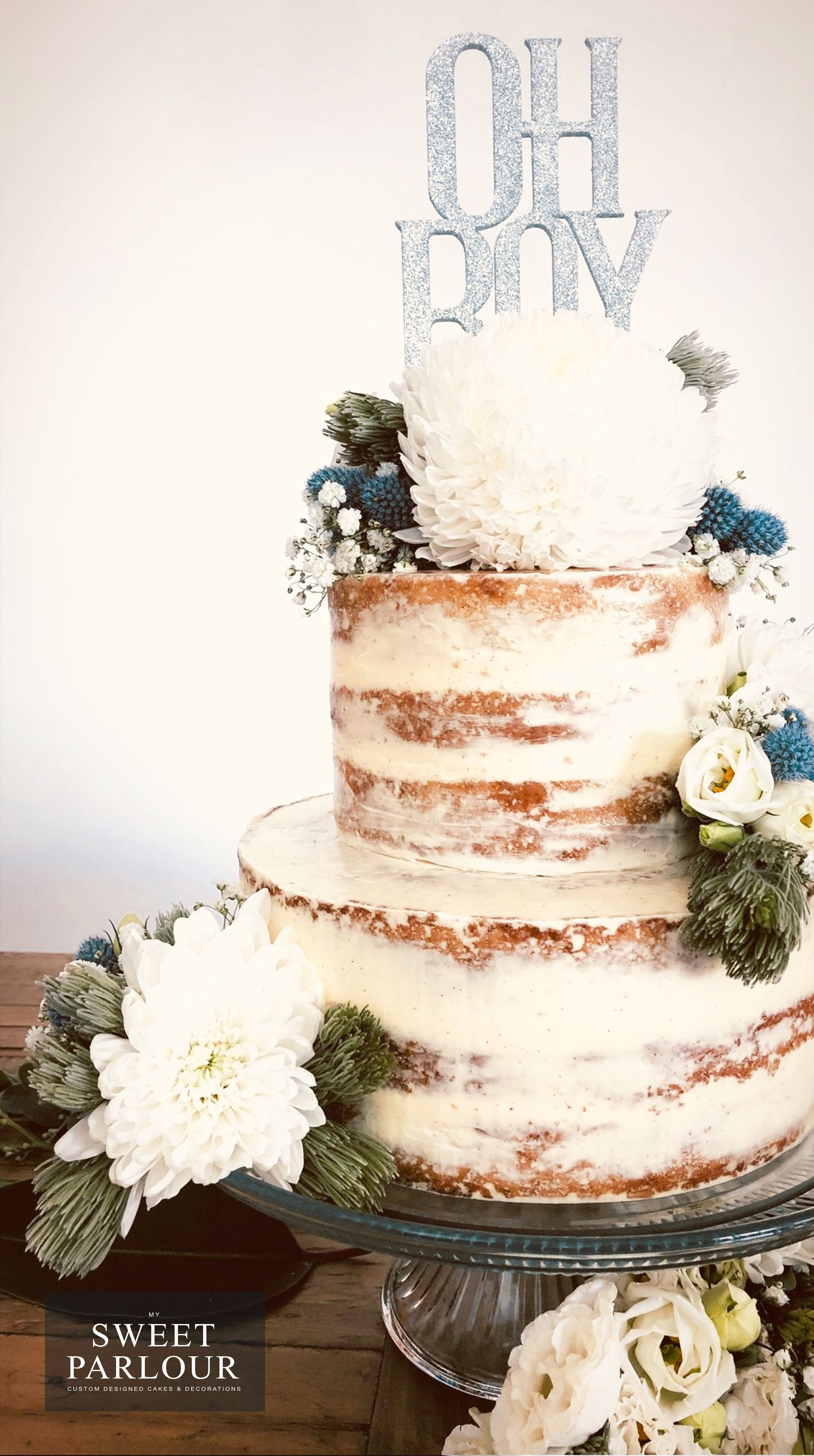 Naked Baby Shower Cake With Fresh Flowers