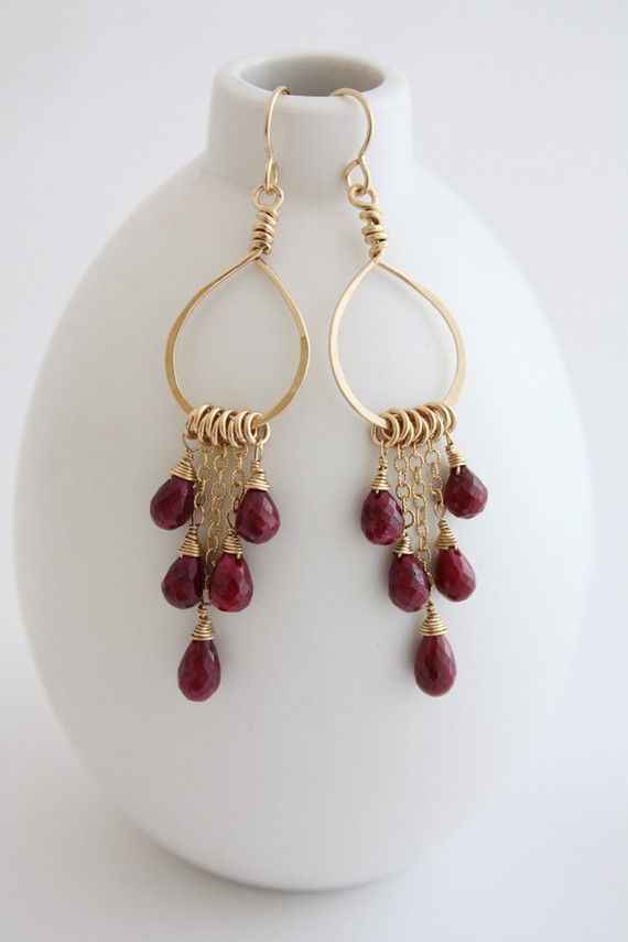 Items similar to Ruby Chandelier Earrings on Etsy | Laura\'s ...