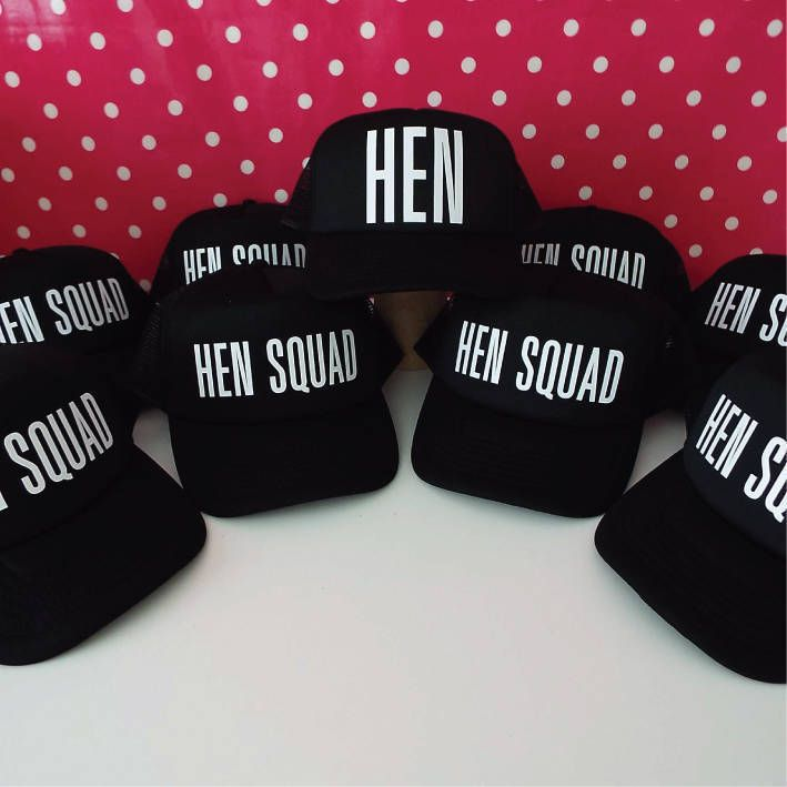 Set Of 8 Hen Party Hats. 7 Hen Squad Hats. 1 Hen Hat for the Bride ... 37ecd38fbb9f
