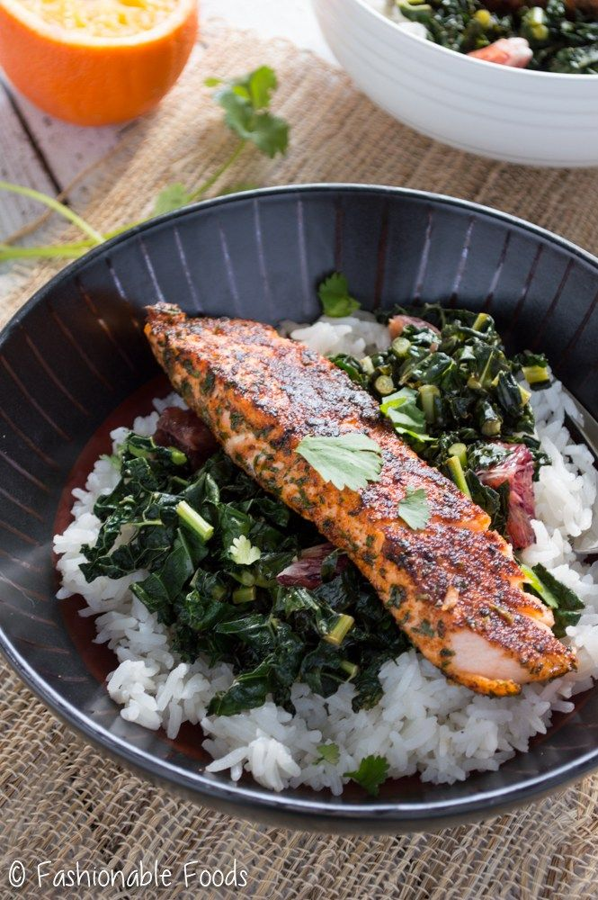 The salmon is flavorful from and it pairs so perfectly with the sautéed kale! Such a simple dinner that works any time of the year!