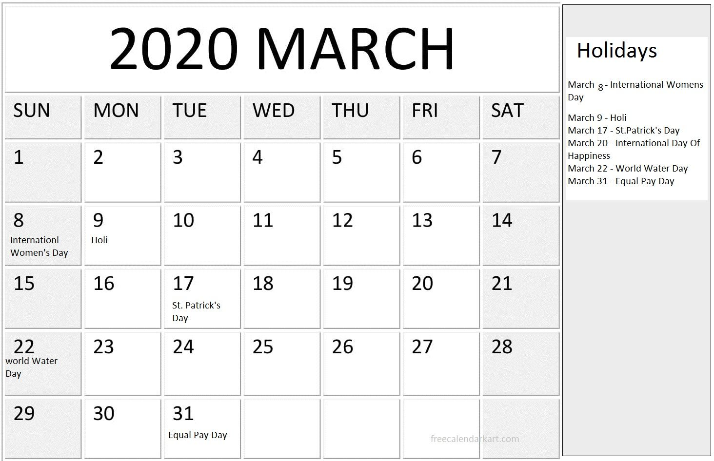 March 2020 Calendar With Holidays Usa Uk Canada India