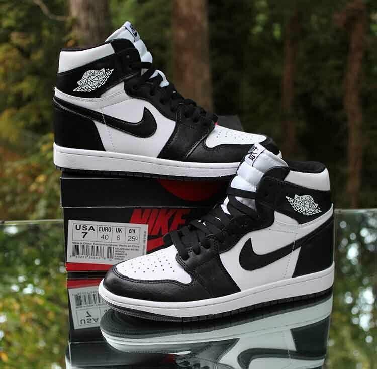 Nike Air Jordan 1 Retro High Og Men S Size 7 Black White 555088