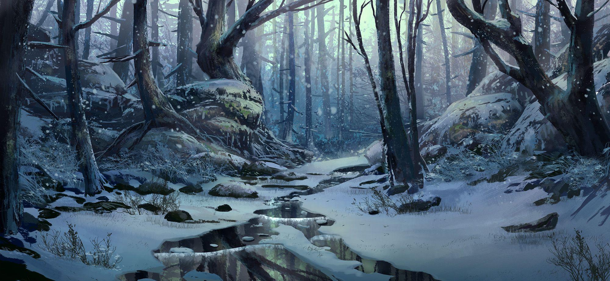 Winter Scene by Tyler Edlin in 2020 Fantasy landscape