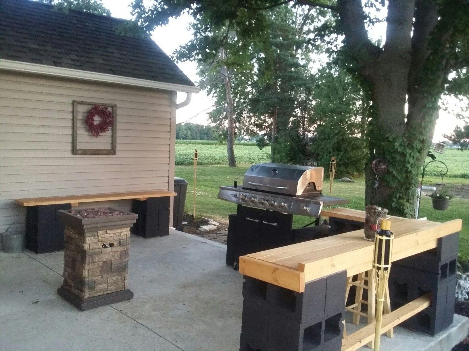 Cinder block patio furniture -Janice Lininger