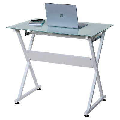 50 Jn 1201 Ultra Modern Glass Computer Desk With Pull Out Keyboard Tray White Onespace Glass Computer Desks Computer Desks For Home Glass Office Desk Modern