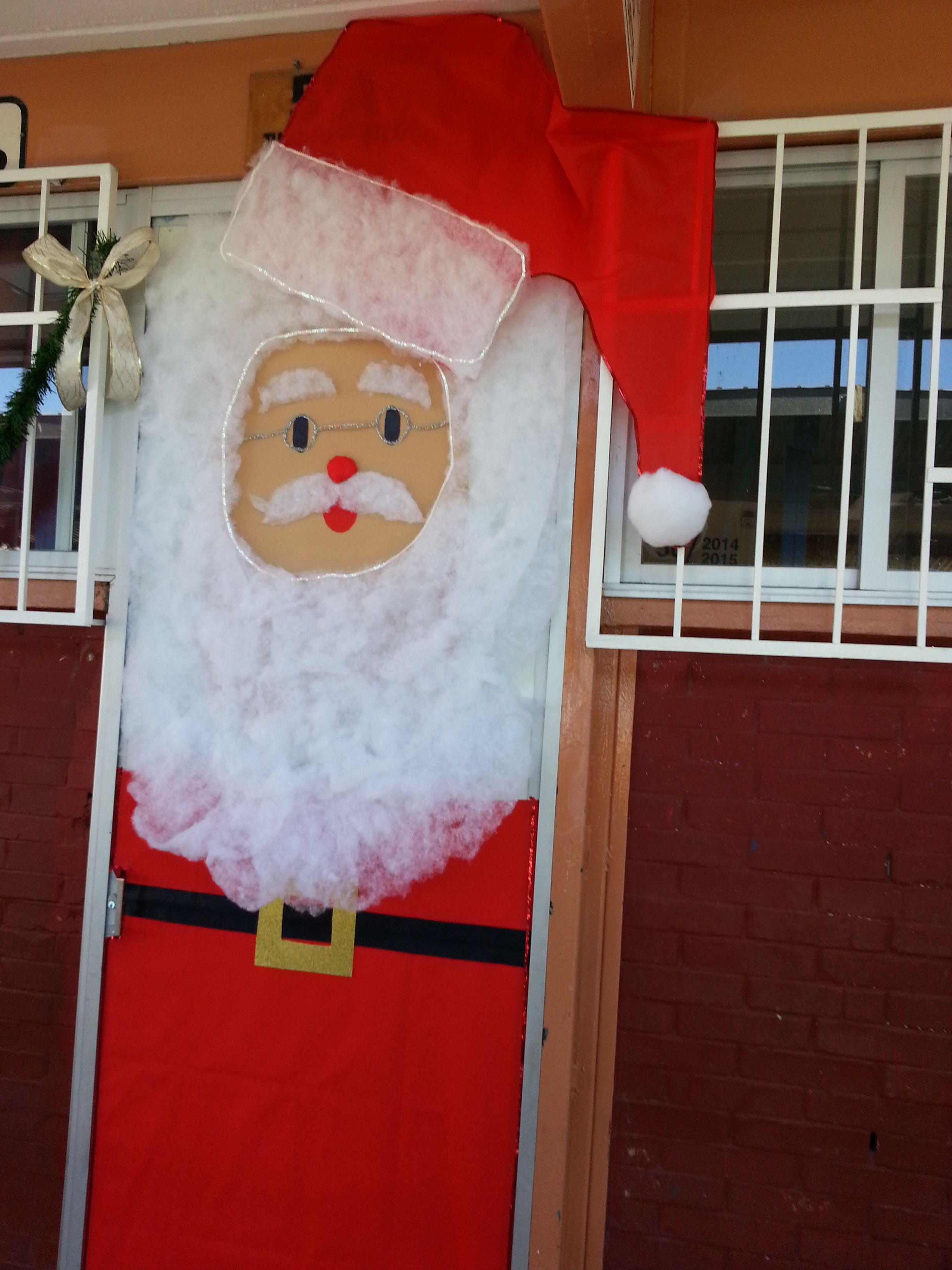 Puerta decorada de santa claus diciembre navidad for Puertas decoradas santa claus