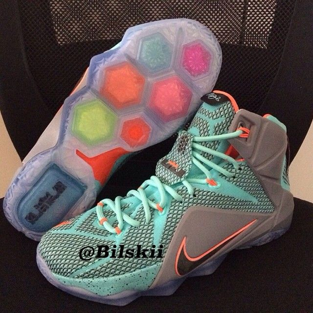 489837d385b Nike LeBron XII 12 Teal Grey-Orange Sample (2)