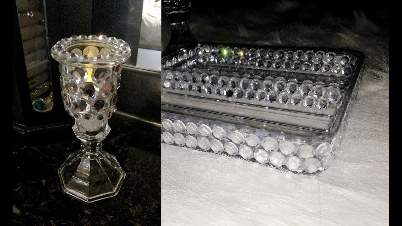 Rhinestone candle and trey dollar store tree diy candel ideas