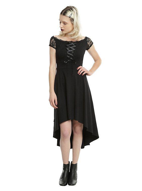 Royal Bones By Tripp Black Lace Front Off-The-Shoulder Hi-Low Dress ... 4b352a7e2