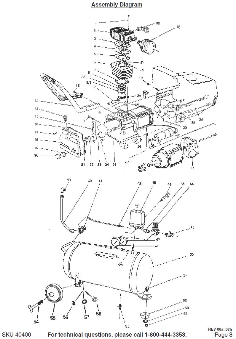 40400 portable oil bath air compressors parts schematic [ 796 x 1139 Pixel ]