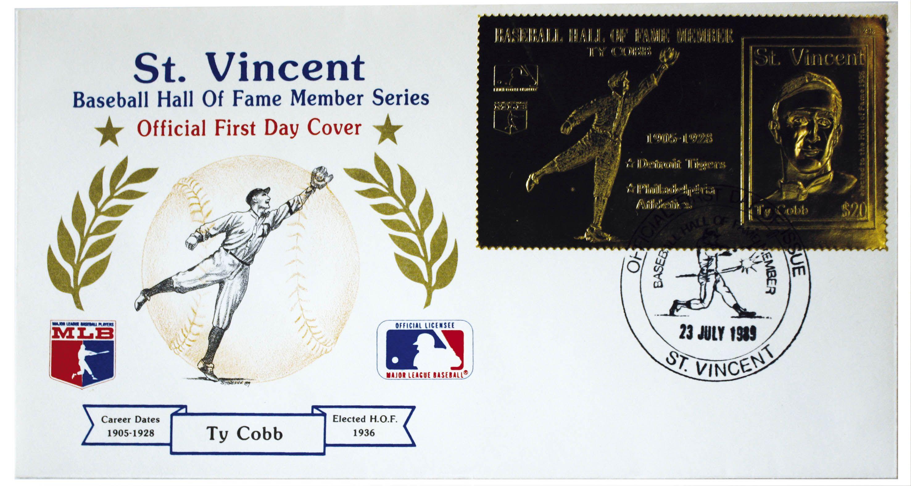 San Vicente, 1989 Ty Cobb Miembros del Salón de la Fama Sobre de Primer Día de Emisión con sello de cancelación, con timbre grabado en relieve color dorado.
