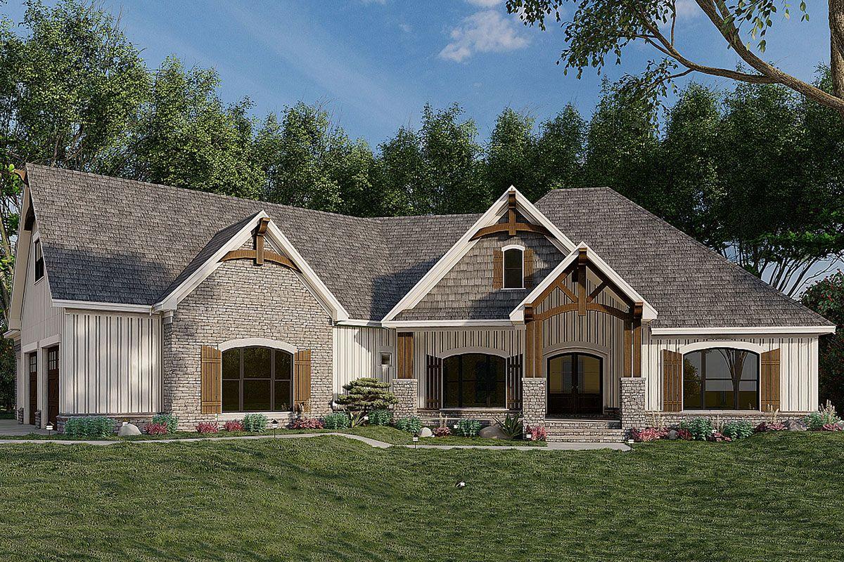 Mountain Craftsman House Plan with Angled 3 Car Garage