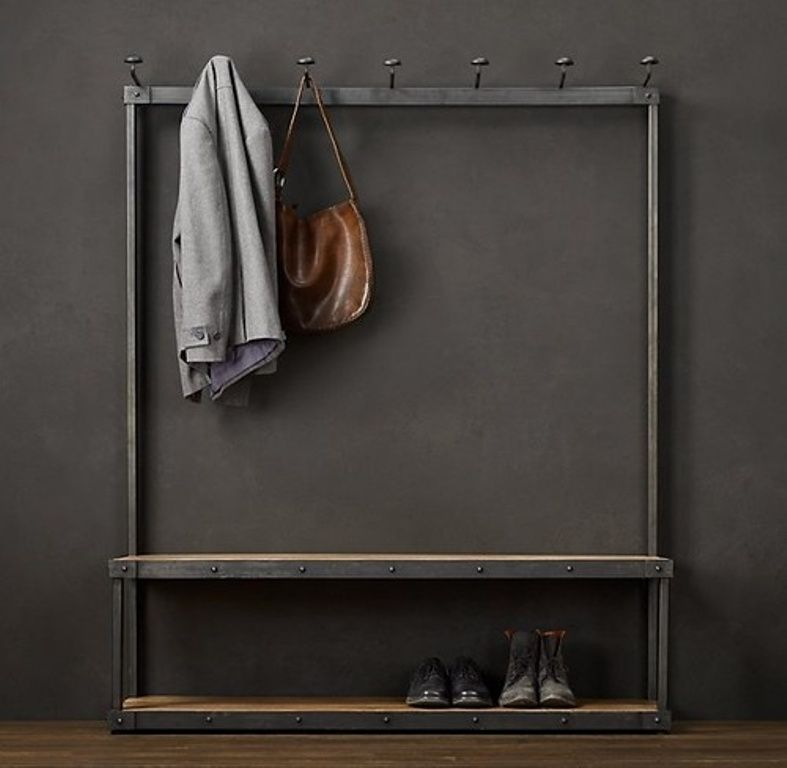 Contemporary Steel And Wood Coat Rack Bench Coat Rack Bench