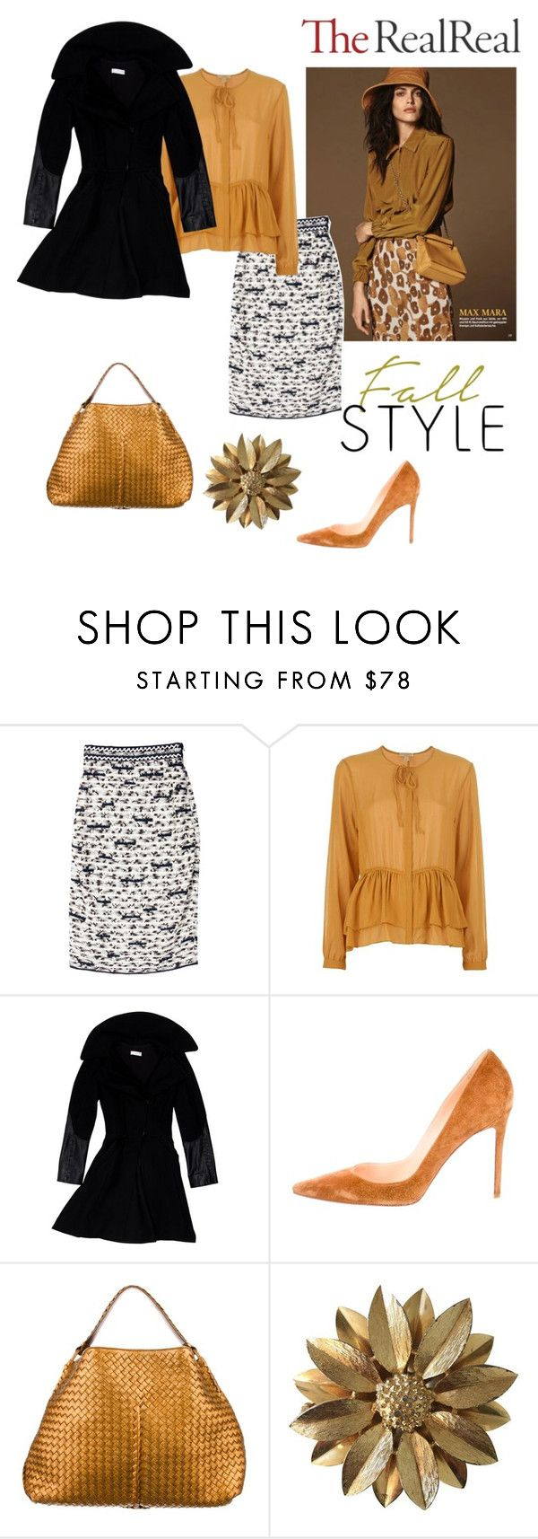"""""""Fall Style With The RealReal: Contest Entry"""" by rossvanderh ❤ liked on Polyvore featuring Oscar de la Renta, Burberry, Altuzarra, Christian Louboutin, Bottega Veneta and Sarah Coventry"""