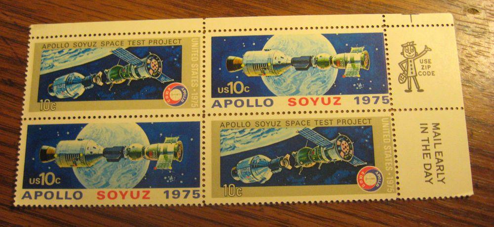 1975 APOLLO-SOYUZ MISSION #1570a Plate Block of 4 x 10 cent