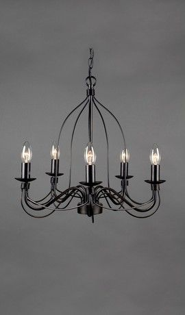French Provincial Traditional Iron Pendant Black Rustic