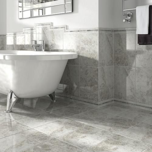 Tile Floor Designs For Bathrooms Endearing Wickes Avellino Cappuccino Grey Ceramic Tile 360 X 275Mm  Grey Decorating Design