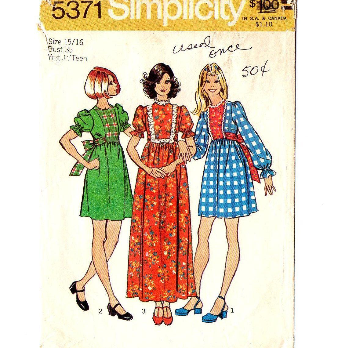 Simplicity 5371 Miss Mini Maxi Dress 70s Vintage Sewing Etsy Vintage Sewing Patterns Retro Fashion Vintage Vintage Sewing [ 1140 x 1107 Pixel ]