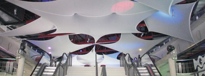 Nivelium stands telas techo tensadas tensados en - Telas para techos ...