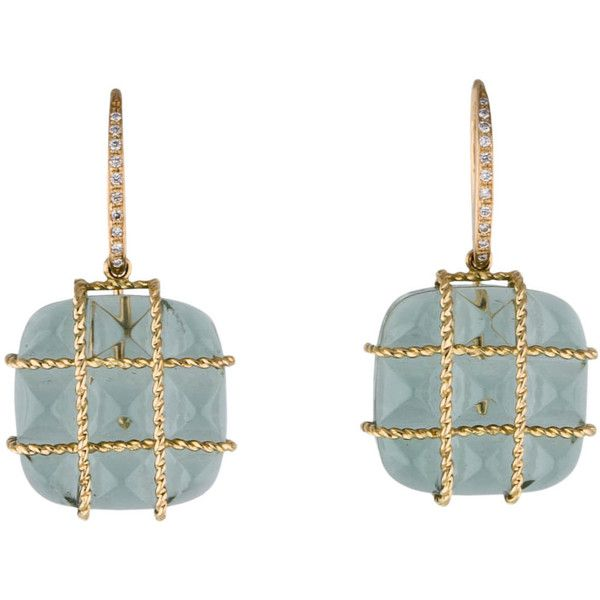 Pre-owned Madstone 18K Prasiolite and Diamond Drop Earrings (2 265 AUD) ❤ liked on Polyvore featuring jewelry, earrings, diamond drop earrings, french hook earrings, green quartz jewelry, diamond earrings and 18 karat gold jewelry