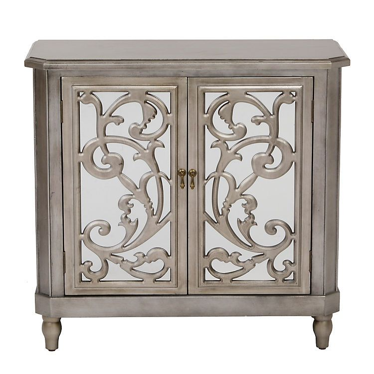 Mirrored Silver Leaf Scroll Cabinet, Silver Leaf Furniture