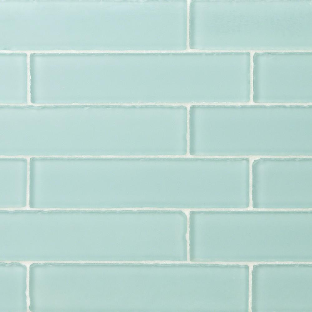 Ivy Hill Tile Ocean Aqua Beached 9 Loose Pieces 2 In X 8 In X 8 Mm Frosted Glass Subway Tile Ext3rd100386 With Images Glass Subway Tile Splashback Tiles Subway Tile