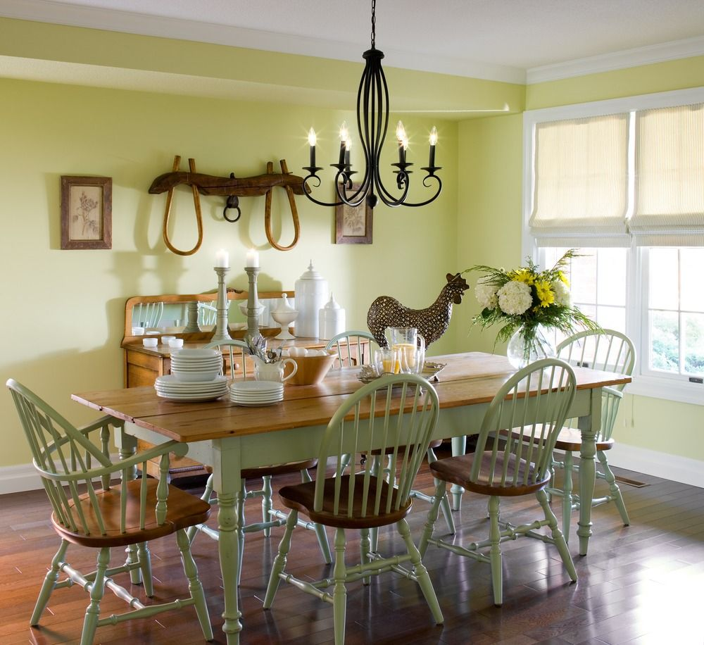 Kinds Of Dining Room Accessories Distressed Furniture With Plain Soft Green Walls Country Acces Country Style Dining Room Dining Room Colors Dining Room Paint