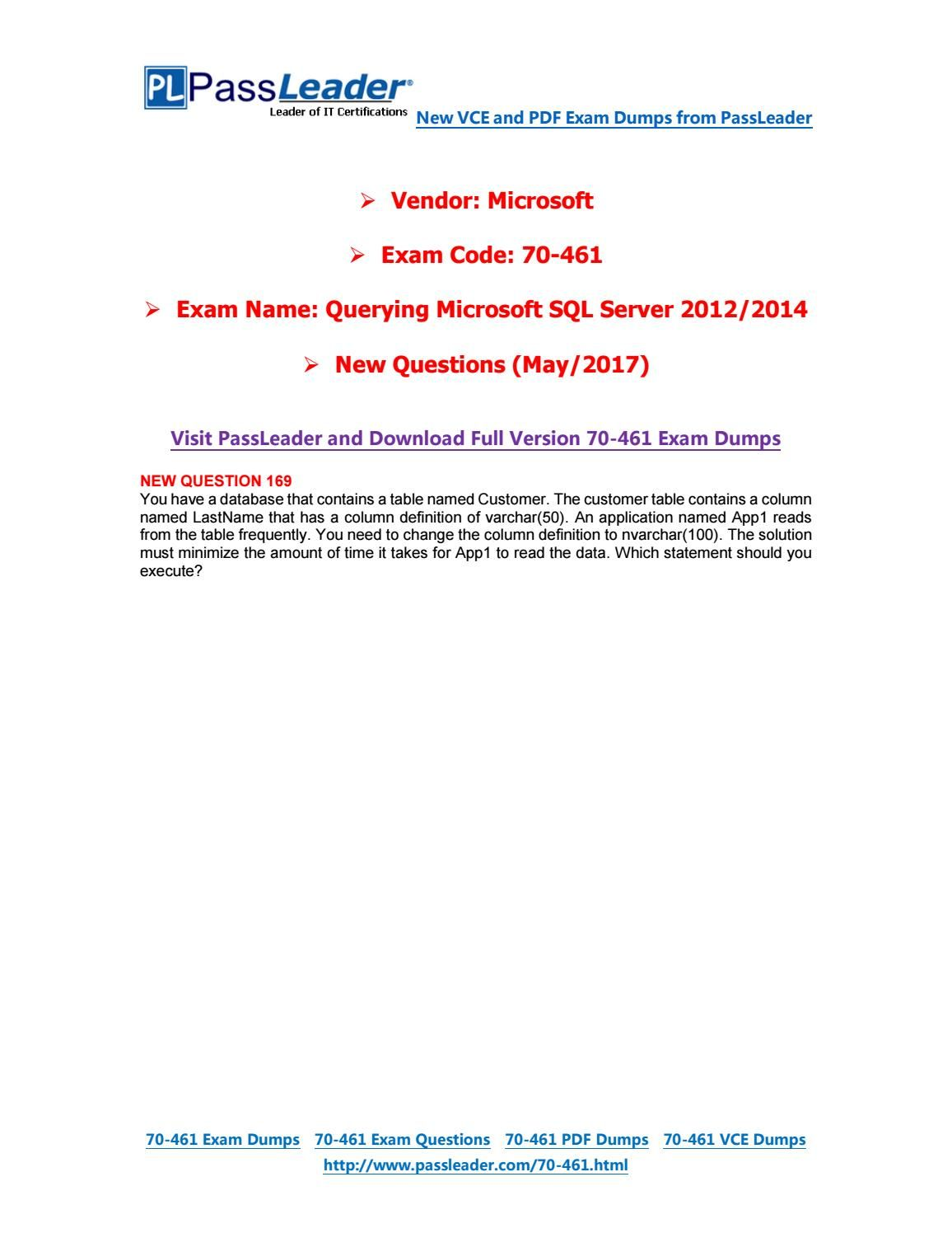 70-461 ebook download exam free