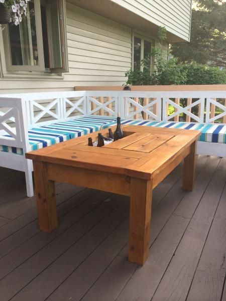 Patio Table with Built-In Beer/Wine Coolers with Weatherly Sofa DIY - Patio Table With Built-In Beer/Wine Coolers With Weatherly Sofa DIY