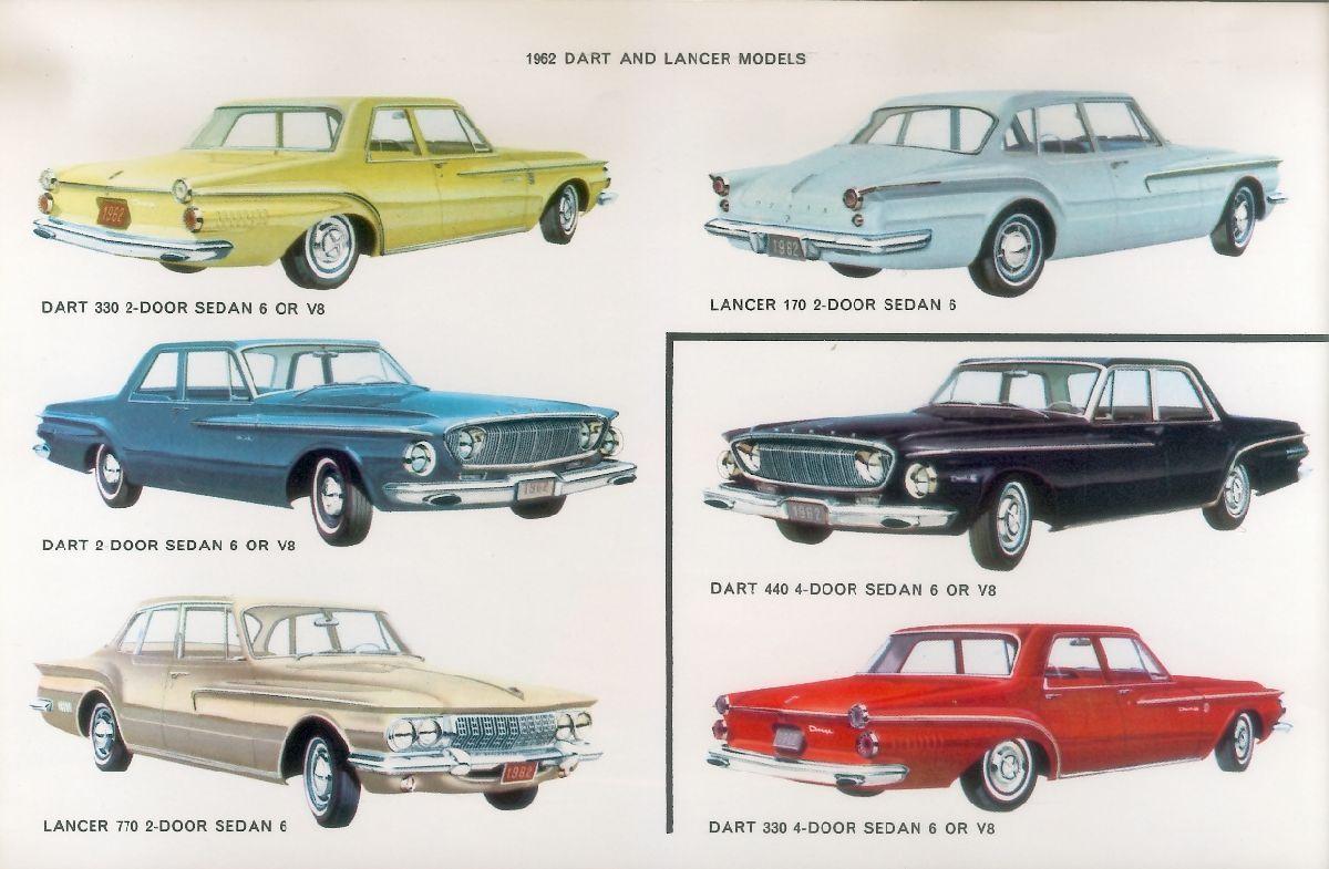 1962 Dodge Darts And Lancers Dodge Dart Dodge Car Brochure