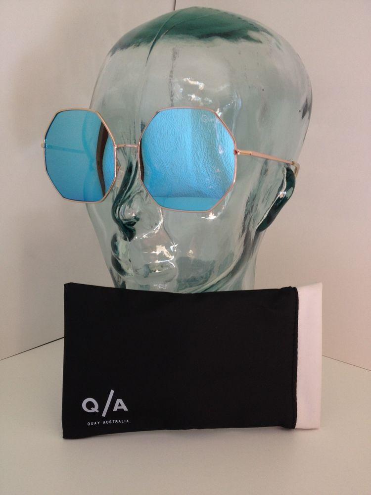 NEW tags Quay Australia Kiss and Tell octagon sunglasses BIG blue lens rose gold…